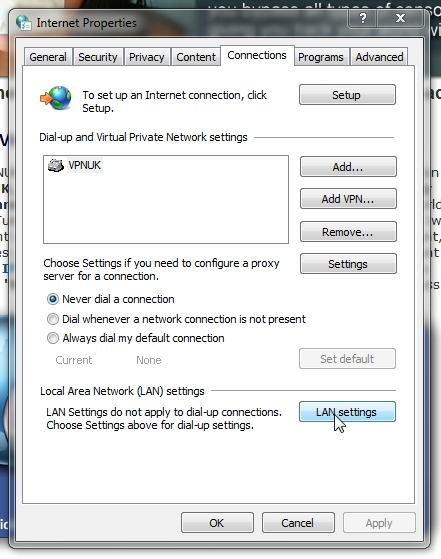 VPNUK Proxy setup for Internet Explorer part 2