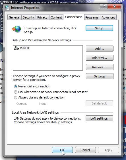 VPNUK Proxy setup for Internet Explorer part 4
